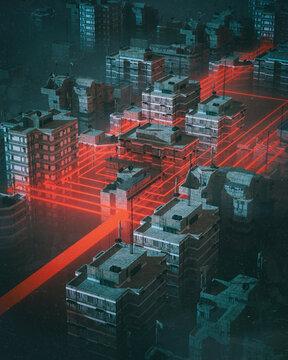 Interconnected industrial smart city with dark urban buildings