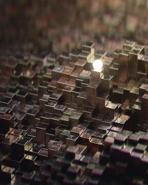 Glowing orb metallic blocks city