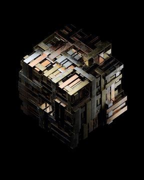 Copper, silver, gold metallic layered data cube