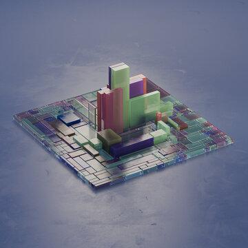 Colorful dark geometric city chip layers visualization