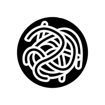 parasitic worms ascaris glyph icon vector. parasitic worms ascaris sign. isolated contour symbol black illustration
