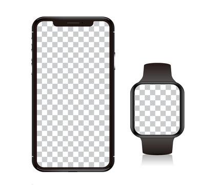 スマートウォッチ、スマート家電のモックデザイン。腕時計。スマートウォッチのモックアップ
