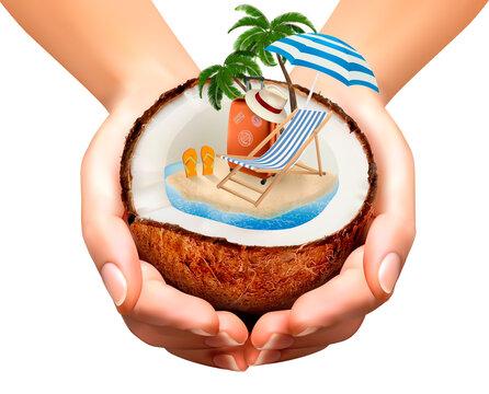 Vacation Concept Palm Tree Suitcase Umbrella Coconut