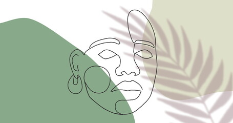 Image of drawing of face in black outline against moving leaf on white and green background