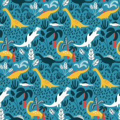 Dinosaur pattern for kids fabric or nursery wallpaper. Blue detailed background with jungle, palms and tropical leaves. White and green dinos on repeated vector tile.