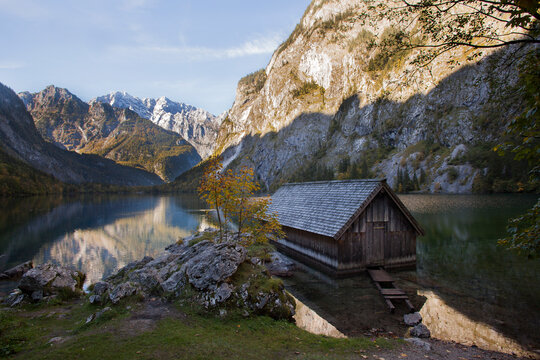 Boathouse at lake Obersee in Bavaria, Germany