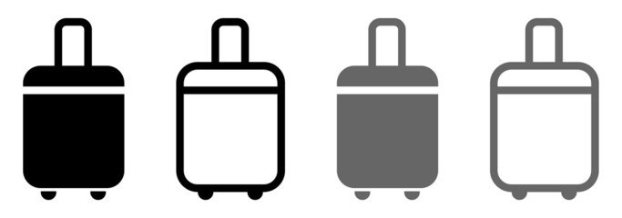 Fototapeta Set of baggage icons, suitcase on wheels. Vector. obraz