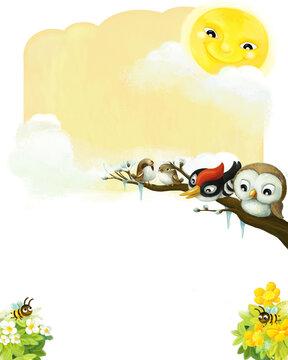 cartoon scene with animals happy birds illustration