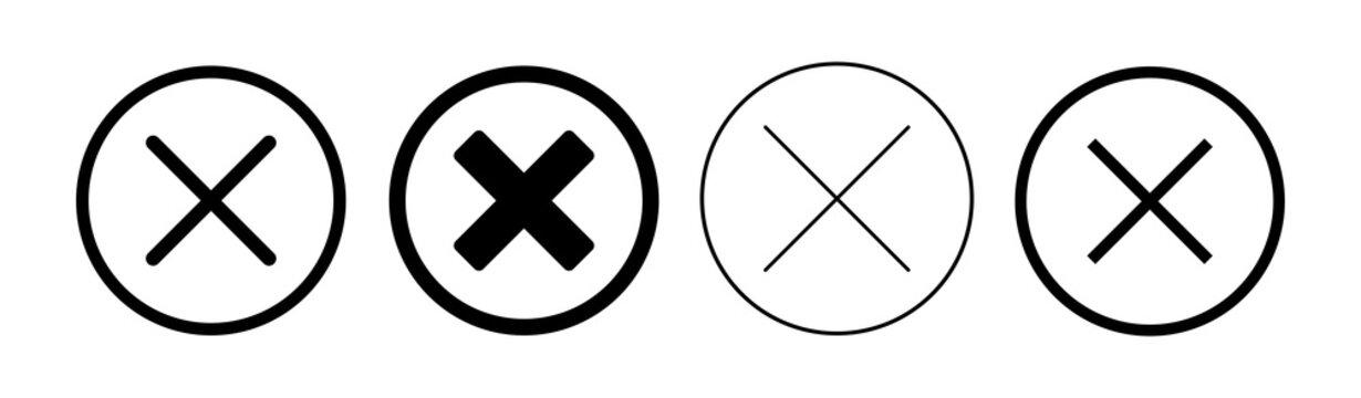 Close icon set. Delete icon vector. cross sign
