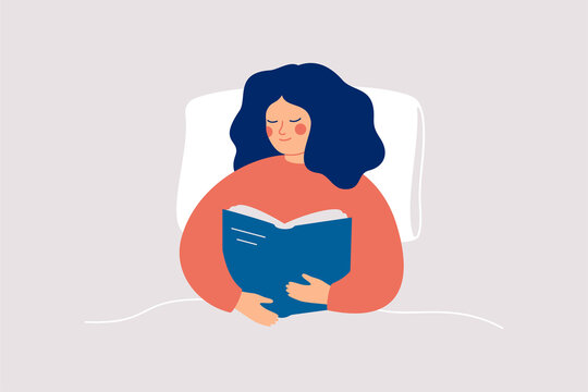 Happy woman reads the book with enjoy in the bed at night or morning. Book therapy session. Mental health concept. Vector illustration