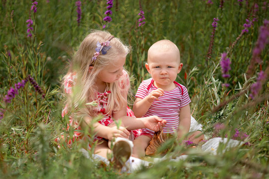 Brother and sister having a picnic in the field