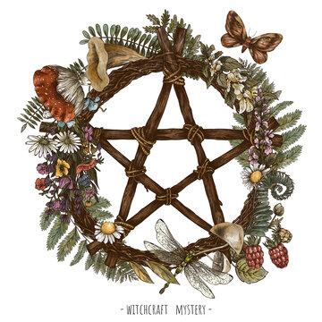 Vintage green witch floral wreath. Pentagram dream catcher witchcraft illudtration. Woodland treasures, mushrooms, ferns, amanita