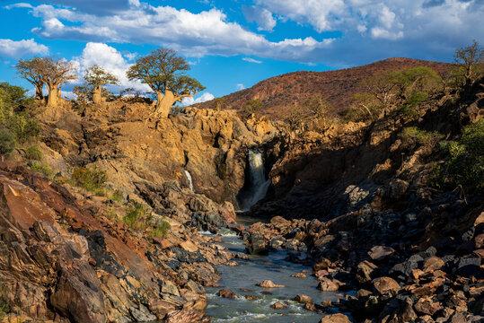 Baobab tree at Epupa Falls, scenic waterfall at edge of northern Namibia and Angola, Africa.