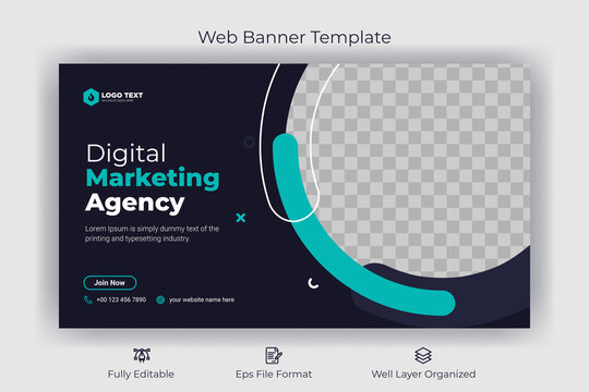 Creative corporate social media  web banner and youtube thumbnail template | Youtube live stream video thumbnail for marketing agency | video thumbnail | Youtube thumbnail