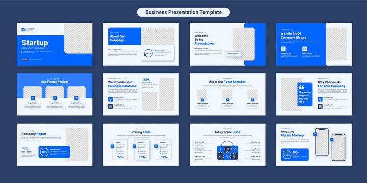 Creative business powerpoint presentation slides template design. Use for modern keynote presentation background, brochure design, website slider, landing page, annual report, company profile.