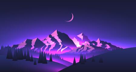 Nacht bergen landschap met bergtoppen en valleien met paarse gloed en maan. Reizen avontuur thema vectorillustratie