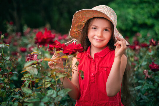Beautiful little girl posing in rose garden in the park. Charming woman smiling outdoor