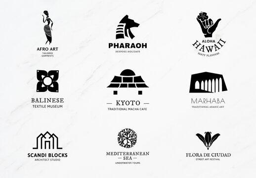 Black and White Logo Illustration for Branding Set