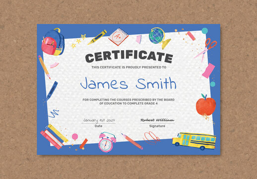 Colorful Elementary Certificate Layout with Cute Doodle Graphics