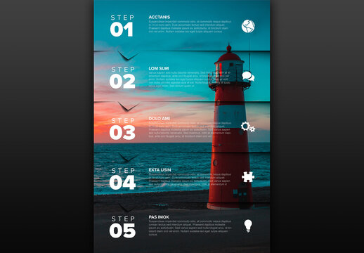 Five Steps Vertical Progress Page Layout with Big Photo Placeholder