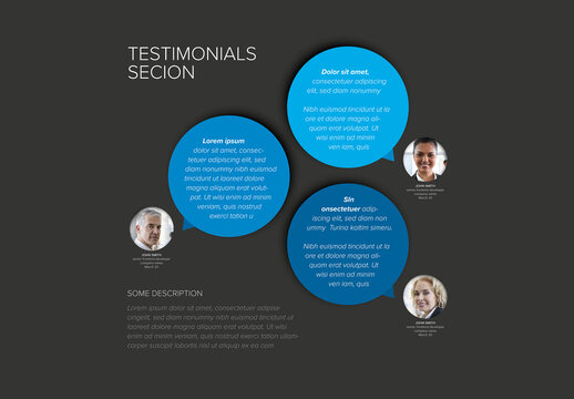 Blue Testimonials Circle Speech Bubbles Review Section Layout Layout