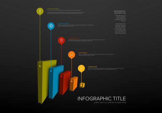 Vertical Layers Blocks Dark Infographic Layout