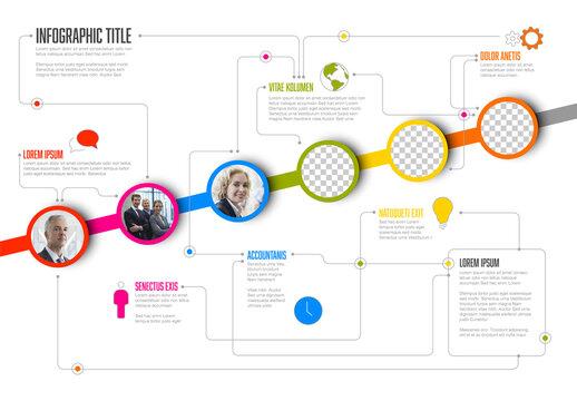 Circle Photo Placeholders Diagonal Timeline Layout
