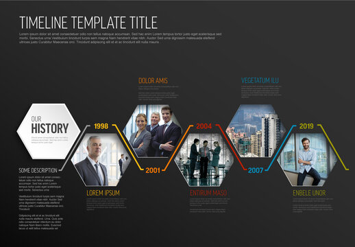 Hexagon Dark Photo Placeholders Timeline Layout