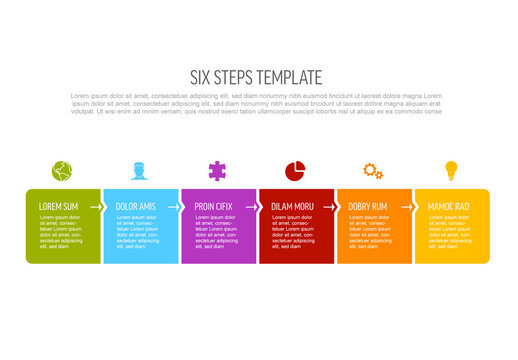 Six Simple Colorful Steps Process Infographic Layout