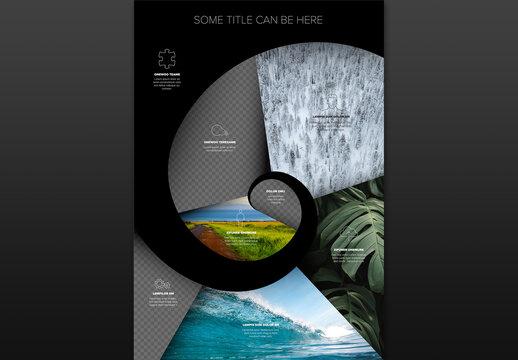Simple Dark Minimalistic Photo Infographic Spiral Layout