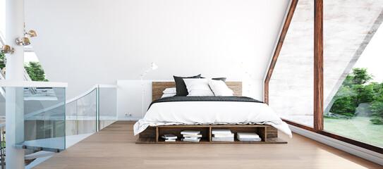 modern attic bedroom interior.