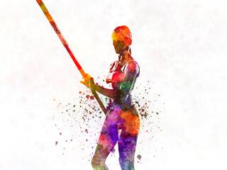 Fototapeta Pertiga jump in watercolor obraz