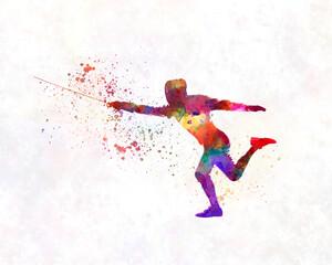 Fototapeta Watercolor fencing contest obraz