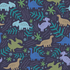 Seamless pattern of cute dinosaurs and floral isolated on dark background.