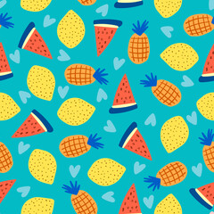 Seamless pattern of colorful summer fruits isolated on blue background.