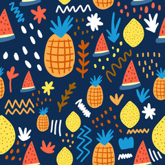 Seamless pattern of colorful summer fruits isolated on dark background.