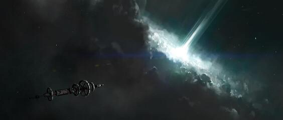 Fototapeta The spacecraft travels near the collapsing star, 3D illustration. obraz