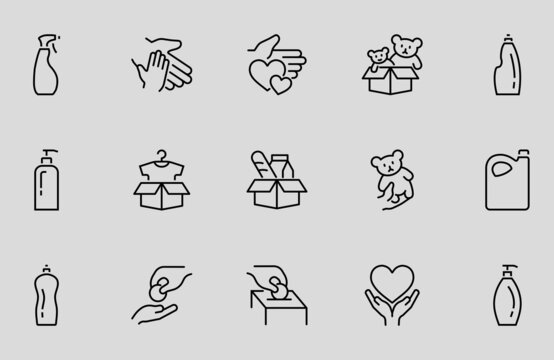 Charity Icon Set Donations, Vector linear Icons, set has a box of clothes, a parcel with toys, A manifestation of kindness. Editable stroke. isolated icons. Helping the poor