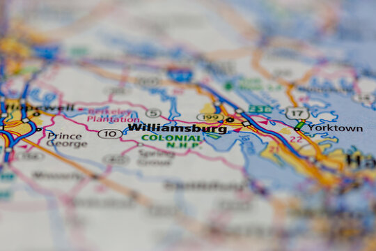 07-29-2021 Portsmouth, Hampshire, UK, Williamsburg Virginia shown on a road map or Geography map