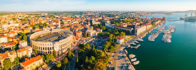 Fototapeta Aerial drone photo of famous european city of Pula and arena of roman time. obraz
