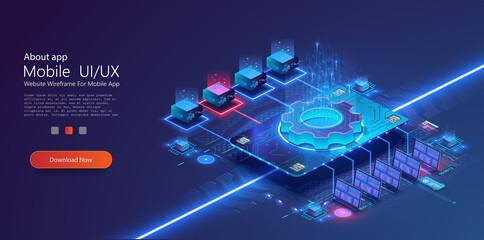 Digital Big data technology. Synchronizing personal information. Database neon storage, data encryption and protection. Information storage and analysis system. Vector stock illustration
