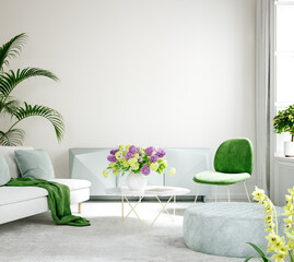 Furnished modern home interior in light pastel colors, 3d render
