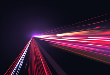 Obraz Vector image of colorful light trails with motion blur effect, long time exposure. Isolated on background - fototapety do salonu
