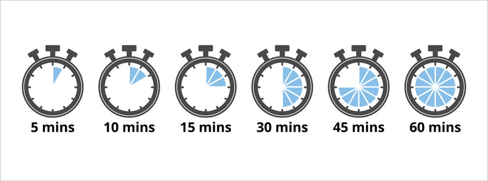 stopwatch five minutes repeat multiple timing icon. Vector illustration. 45 minutes. 60 minutes