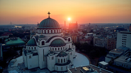 Drone view of Saint Sava temple, one of the largest Orthodox churches in the world - Belgrade, Serbia.