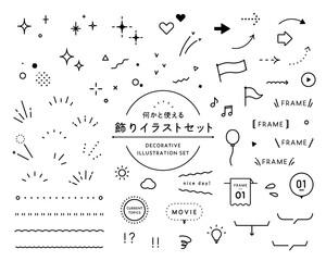 Obraz 飾りイラストのセット シンプル アイコン 星 キラキラ ハート 矢印 吹き出し フレーム - fototapety do salonu