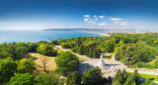 Varna spring time, beautiful aerial view above sea garden