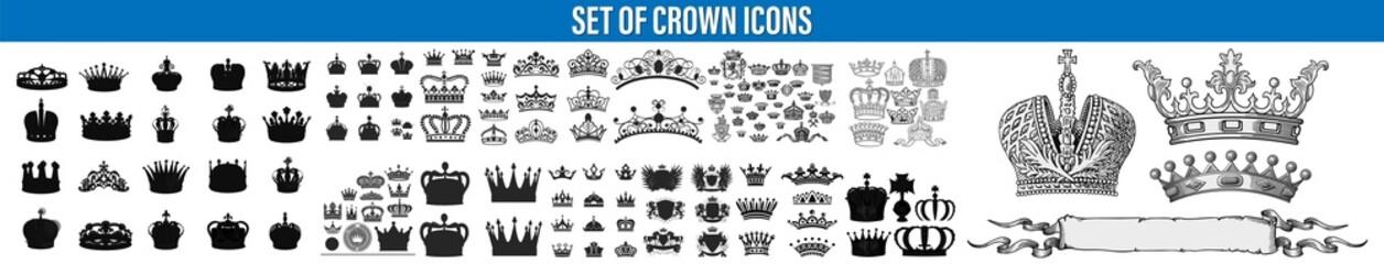 Fototapeta Crown set icon, logo isolated on white background. Set of golden crowns for king, Crown Icons. Crown icon. Big set of crown heraldic silhouette icons vector obraz