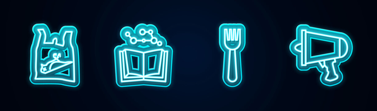 Set line Dead bird, plastic, Open book, Disposable fork and Spread the word, megaphone. Glowing neon icon. Vector