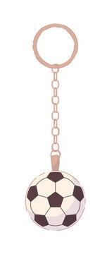 Soccer ball pendant on metal key holder on white background